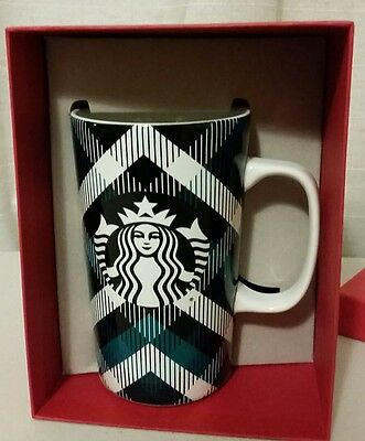 Starbucks Mug Plaid 16 fl oz. New in Box Green Black White