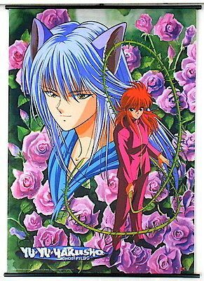 A Vintage 2001 Yu Yu Hakusho Anime Ghost Files Rose Kuruma Fabric Wall Scroll