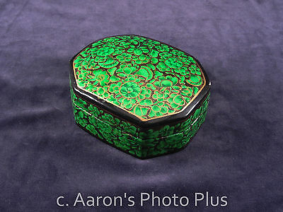 Vintage Hand Painted Laquered Paper Mache trinket box Green Black Gold Laquer