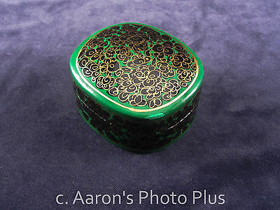 Vintage Small Hand Painted Laquer Paper Mache trinket box Black Green Gold