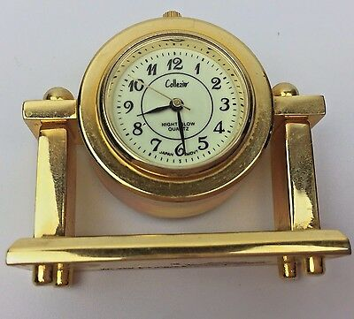 Miniature Brass Mantle Clock With Glow In The Dark Face