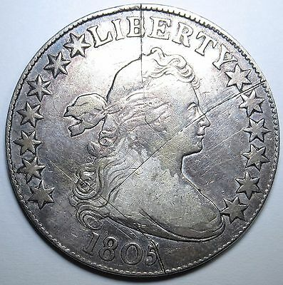 1805 VF Details US Silver Draped Bust Half Dollar Antique US Currency Money Coin
