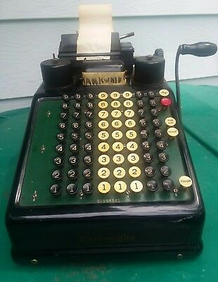 Burroughs Adding Machine Vintage 1930's Portable Accounting Pre Calculator
