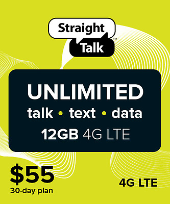 Straight Talk $55 Unlimited 30 Days 12GB Service Card