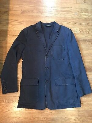 J.CREW Distressed Navy Blue Lapel Denim Blazer Jacket Size Medium M