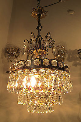 Antique Vnt French Basket Style Crystal Chandelier Ceiling Light 1940s 13in dmtr