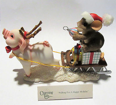 "Charming Tails ""Pulling for a Happy Holiday"" Fitz and Floyd Mouse Figurine"