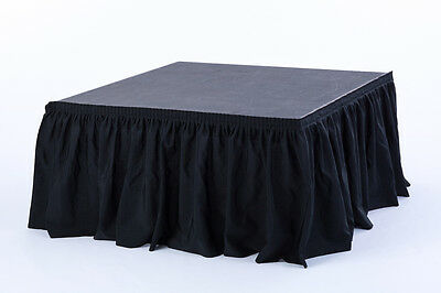 "Stage Skirting - Black Skirt Fabric - Mini Accordian - 18"" Tall x 108"" Wide 9ft"