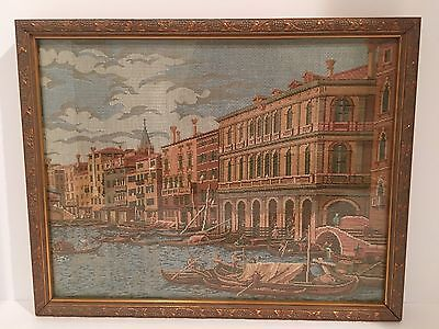 Vintage Framed Italian Tapestry Art of Venice Canal Waterway under glass