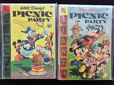 PICNIC PARTY Lot of 2 Dell Giant Comic Books - #7 & 8 - Walt Disney!