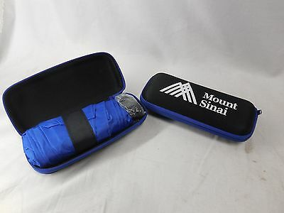 "2 Travel Mini 6"" Umbrella Case Lightweight Small Pocket Size UV Waterproof Blue"