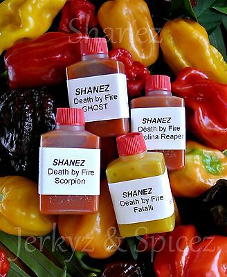 4x15ml Shanez 'Death By Fire'(Hot Sauce)Chilli ~Reaper~Scorpion ~Ghost~Fatalii