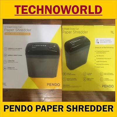 Pendo 6 Sheet Cross Cut Paper Shredder ,shreds Credit Cards, 11L,auto Sensor
