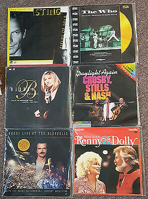 25 Music Laser Discs / STING ELTON JOHN KENNY ROGERS LIONEL RICHIE WHO SANTANA