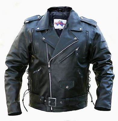 Motorcycle Leather Jacket-*PACKED WITH FEATURES* -Oz Biker- BRANDO - Size: SMALL