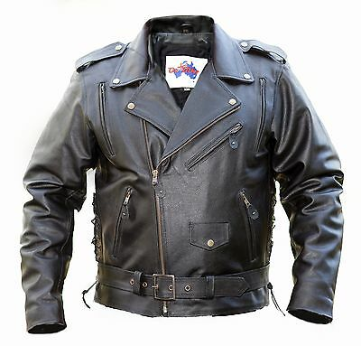 Motorcycle Leather Jacket- *PACKED WITH FEATURES* -Oz Biker- BRANDO -Size: Large