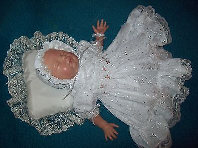 Reborn dolls clothes wHITE BRODERIE ANGLAISE DRESS SET  19-21 SPECIAL PRICE