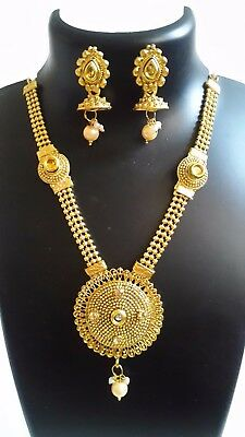 Indian Jewelry New Ethnic Fashion Trendy Pendant Necklace Traditional Set E 32