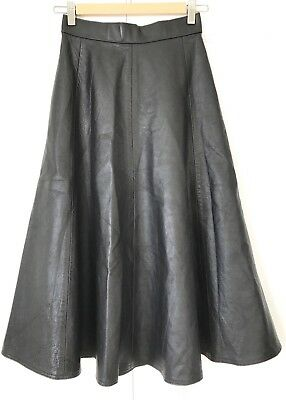 Vintage 1980s Jennie Browne Made In Britain Black Leather A-line Skirt XXS