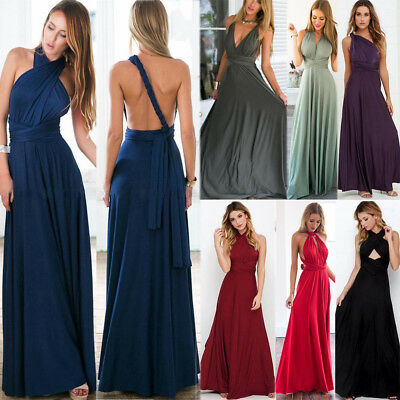 Womens Evening Dress Convertible Multi Way Wrap Bridesmaid Formal Long Maxi Gown