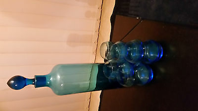 Vintage Aqua decanter with glasses