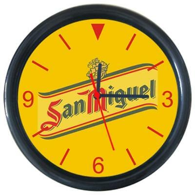 Beverage Beer San Miguel Logo Sign Yellow Round Wall Clock