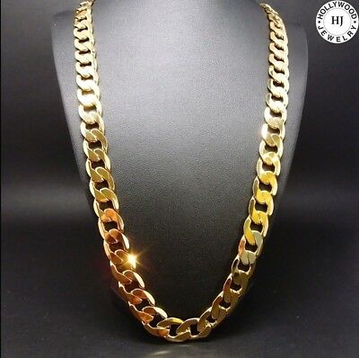 14K Gold Chain Cuban Necklace 11MM Miami Link w/real solid clasp USA 30inch mens