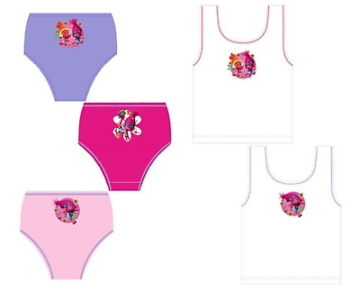 Girls Trolls 2 Pack Vests Or 3 Pack Briefs Size 2-3, 3-4, 4-5, 5-6, 7-8 Years