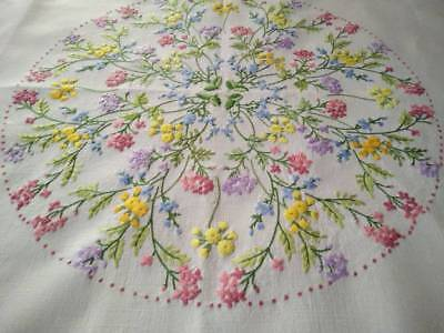 "Exquisite Meadow Flowers ~ Vintage Raised Hand Embroidered Tablecloth 49"" sq"