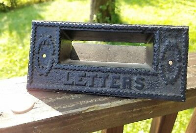 Antique Victorian Ornate Cast Iron Door Mail Letters Slot Pat'd 1890