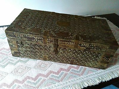Antique Indian Wooden Scribe's Chest