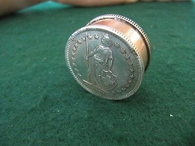 Handcrafted Silver Switzerland 2 Francs 1900S Large Coin Snuff Box/ Pill Box