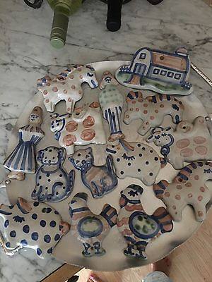 M A Hadley pottery hangable whimsical animals plus man and women