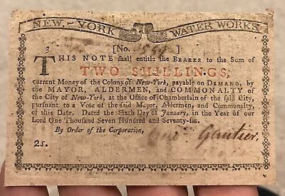 1776 New York Waterworks Continental Colonial Currency 2 Shillings