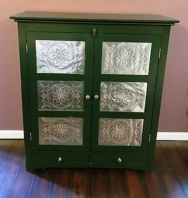 Pie safe 2 door primitive farmhouse antiqued green punched tin spiral pattern