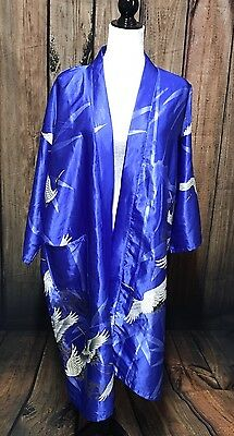 Vintage Crane Open Front Lounge Robe Kimono Blue SZ 42 Made In Japan Juguemm