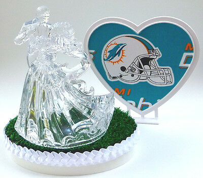 Wedding Cake Topper Miami Dolphins Themed Clear Couple Dancing Football w/Garter