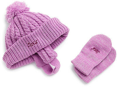 Levi's Girls Baby Bundle Up Knit Set Hat & Mittens New, Plum or Pink, 12-24 Mos