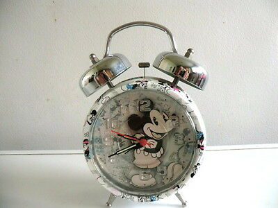 Mickey Mouse Classic Twin Bell Quartz Alarm Clock With Second Hand