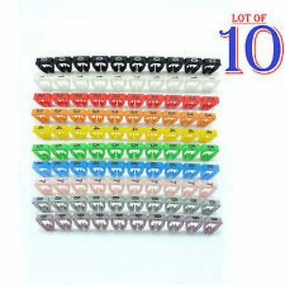 New Cable Markers Clip x100 Colourful C-Type Marker Number Tag Label  4-6mm D13
