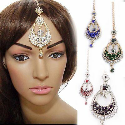 OVAL Chain Kundan Hijab HeadPiece Tikka Indian Kids Head Side Piece Festival