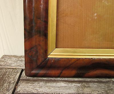 c1860 Excellent VICTORIAN Figured ROSEWOOD Ogee TEXTILE WATERCOLOR Antique Frame
