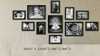 11Pcs Wooden Photo Frame Wall Hang Decor Collage Large Small Multi Set Frames