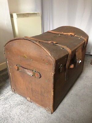 Genuine Vintage Waxed Canvas Covered Wood Framed Steamer Trunk Chest