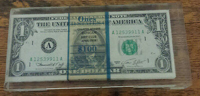 $100 one $1 dollar bills encased in Lucite from 1974 paperweight unique item