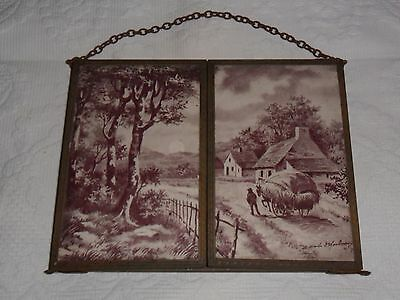 Antique French tri fold.French country scenes toile de Jouy style.C1900.Signed.