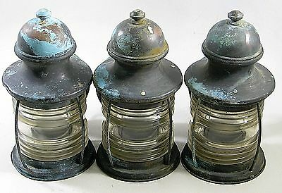 3 Vintage Matching Brass Nautical Lantern Wall Sconce Light Lamp Fixtures