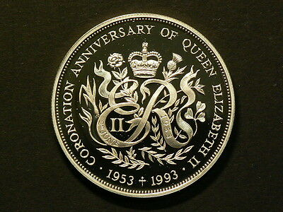 Guernsey 1993 2 Pounds Silver Proof Coronation Anniversary 39mm KM#55a #G6549