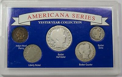 SILVER Americana Series TYPE SET Barber Half Quarter Indian Set Coin Lot #13981J