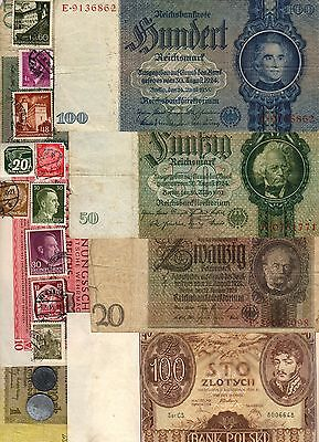 Nazi Germany Banknote, Coin And Stamp Set   # 86